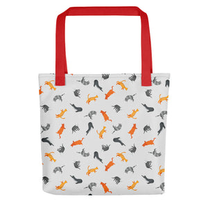 Funky Cats Pattern | Light Grey | Tote Bag-tote bags-Red-Eggenland