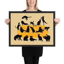 Load image into Gallery viewer, Black Cats Party | Cream | Illustration | Framed Poster-framed posters-Black-18×24-Eggenland