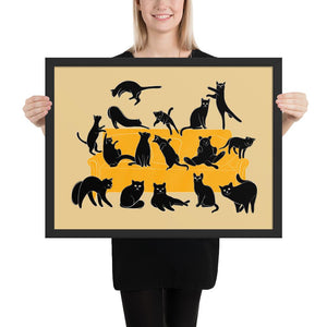 Black Cats Party | Cream | Illustration | Framed Poster-framed posters-Black-18×24-Eggenland