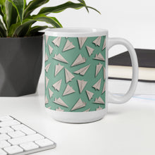 Load image into Gallery viewer, Paper Planes Pattern | Green | Mug-mugs-Eggenland