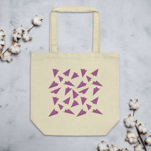 Paper Planes Pattern | Pink | Eco Tote Bag-tote bags-Oyster-Eggenland