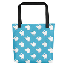 Load image into Gallery viewer, Cute Cat Pattern | Blue and White | Tote Bag-tote bags-Black-Eggenland
