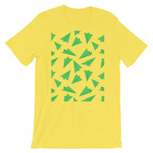 Load image into Gallery viewer, Paper Planes Pattern | Green | Short-Sleeve Unisex T-Shirt-t-shirts-Yellow-M-Eggenland