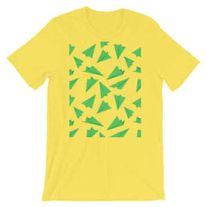 Paper Planes Pattern | Green | Short-Sleeve Unisex T-Shirt-t-shirts-Yellow-M-Eggenland