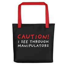 Load image into Gallery viewer, I See Through | Black | Tote bag-tote bags-Red-Eggenland