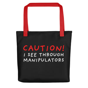 I See Through | Black | Tote bag-tote bags-Red-Eggenland