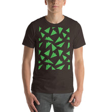 Load image into Gallery viewer, Paper Planes Pattern | Green | Short-Sleeve Unisex T-Shirt-t-shirts-Brown-S-Eggenland