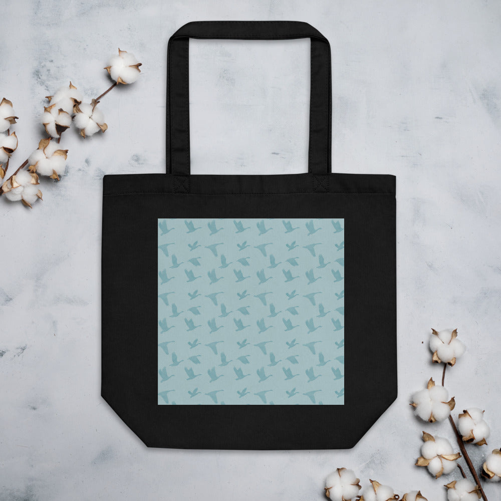 Flying Birds Pattern | Blue | Eco Tote Bag-tote bags-Black-Eggenland