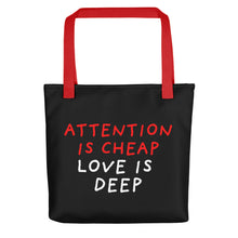 Load image into Gallery viewer, Attention Is Cheap | Black | Tote Bag-tote bags-Red-Eggenland