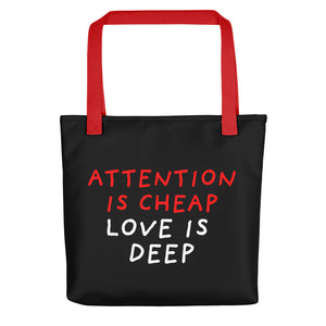 Attention Is Cheap | Black | Tote Bag-tote bags-Red-Eggenland