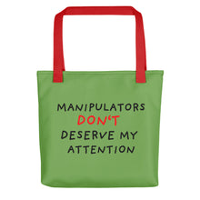 Load image into Gallery viewer, No Attention to Manipulators | Green | Tote Bag-tote bags-Red-Eggenland