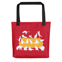 Load image into Gallery viewer, Cats Party | Red | Tote Bag-tote bags-Black-Eggenland
