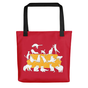 Cats Party | Red | Tote Bag-tote bags-Black-Eggenland