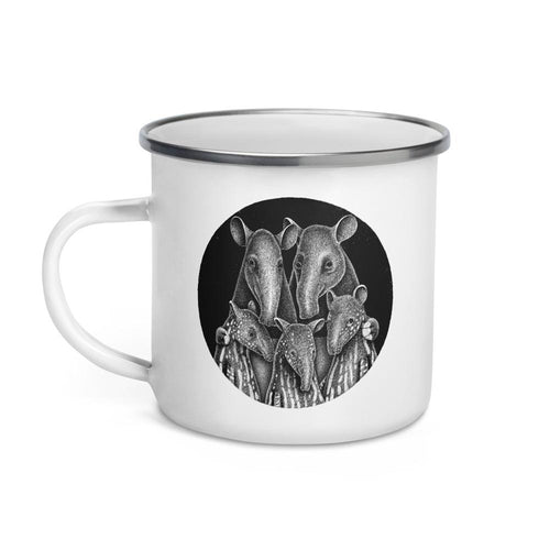 Tapir Family | Illustration | Enamel Mug-enamel mugs-Eggenland