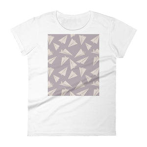 Paper Planes Pattern | Violet | Women's Short-Sleeve T-Shirt-t-shirts-White-S-Eggenland