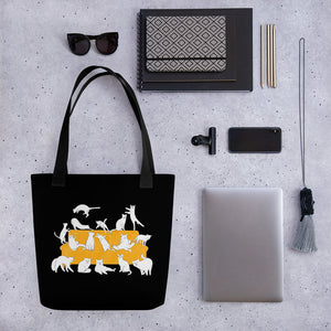 Cat Party | Black | Tote Bag-tote bags-Eggenland
