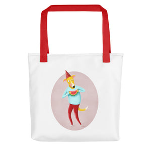 Dog with Watermelon | Tote Bag-tote bags-Red-Eggenland