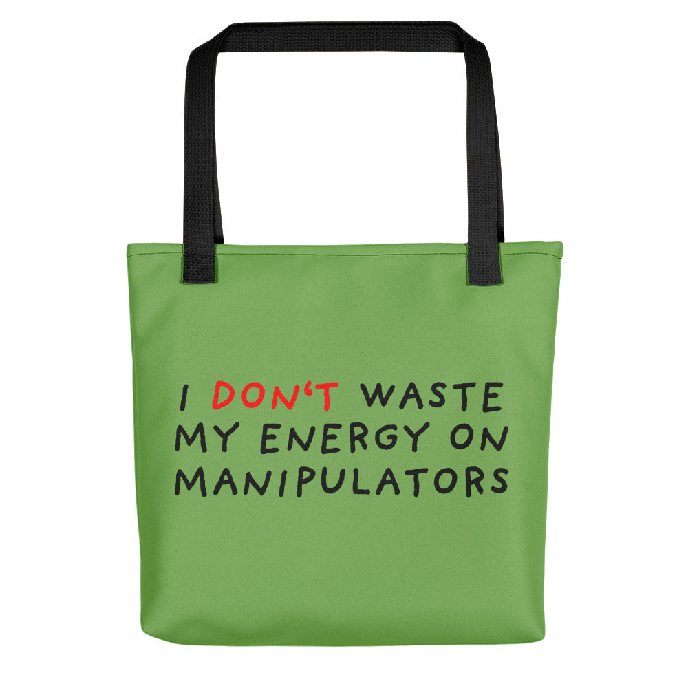 Don't Waste Energy | Green | Tote bag-tote bags-Black-Eggenland