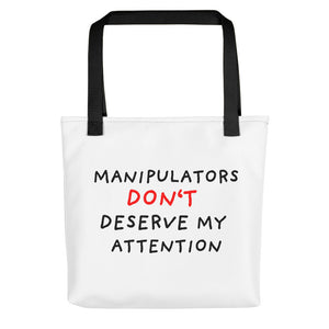 No Attention to Manipulators | Tote Bag-tote bags-Black-Eggenland