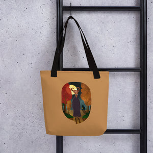 Deer Creature at Night | Light Brown | Tote Bag-tote bags-Eggenland
