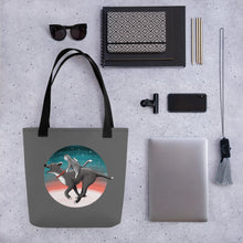 Load image into Gallery viewer, Together We Are Faster | Dog, Cat and Mouse | Dark Grey | Tote Bag-tote bags-Eggenland