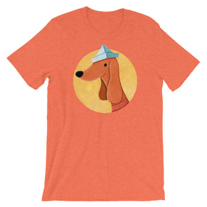 Dog With Newspaper Hat | Short-Sleeve Unisex T-Shirt-t-shirts-Heather Orange-S-Eggenland