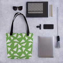Load image into Gallery viewer, Paper Planes Pattern | Green and White | Tote Bag-tote bags-Eggenland