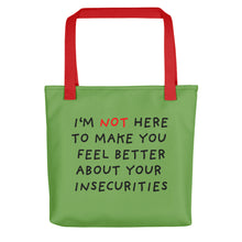 Load image into Gallery viewer, Insecurities | Green | Tote Bag-tote bags-Red-Eggenland