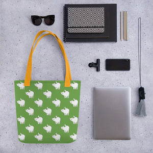 Cute Cat Pattern | Green and White | Tote Bag-tote bags-Eggenland