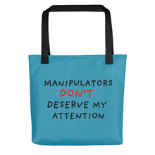 Load image into Gallery viewer, No Attention to Manipulators | Blue | Tote Bag-tote bags-Black-Eggenland
