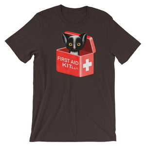 First Aid Kitten | Short-Sleeve Unisex T-Shirt-t-shirts-Brown-S-Eggenland