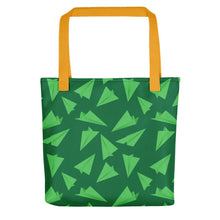 Load image into Gallery viewer, Paper Planes Pattern | Green | Tote Bag-tote bags-Yellow-Eggenland