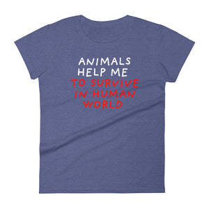 Animals Help Me | Women's Short-Sleeve T-Shirt-t-shirts-Heather Blue-S-Eggenland