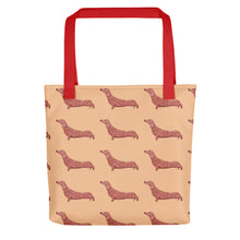 Load image into Gallery viewer, Dachshund Dog Pattern | Cream | Tote Bag-tote bags-Red-Eggenland