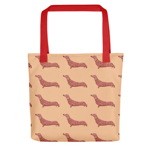 Dachshund Dog Pattern | Cream | Tote Bag-tote bags-Red-Eggenland