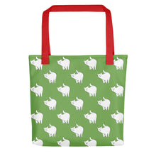 Load image into Gallery viewer, Cute Cat Pattern | Green and White | Tote Bag-tote bags-Red-Eggenland