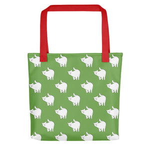 Cute Cat Pattern | Green and White | Tote Bag-tote bags-Red-Eggenland