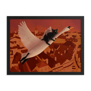 Swan, Cat and Mouse Flying Above Prague | Illustration | Framed Poster-framed posters-Eggenland