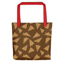 Load image into Gallery viewer, Paper Planes Pattern | Golden and Brown | Tote Bag-tote bags-Red-Eggenland