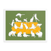 Load image into Gallery viewer, Cats Party | Illustration | Green | Framed Poster-framed posters-Eggenland