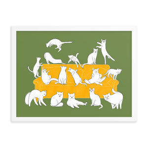 Cats Party | Illustration | Green | Framed Poster-framed posters-Eggenland