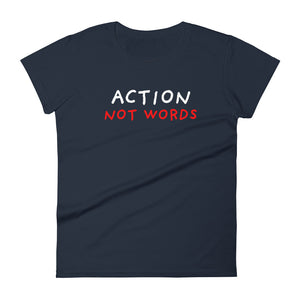 Action Not Words | Women's Short-Sleeve T-Shirt-t-shirts-Navy-S-Eggenland