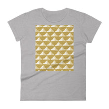 Load image into Gallery viewer, Paper Hats Pattern | Golden | Women's Short-Sleeve T-Shirt-t-shirts-Heather Grey-S-Eggenland
