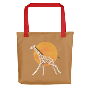 Giraffe and Sun | Light Brown | Tote Bag-tote bags-Red-Eggenland