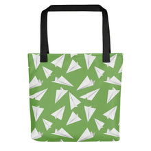 Load image into Gallery viewer, Paper Planes Pattern | Green and White | Tote Bag-tote bags-Black-Eggenland