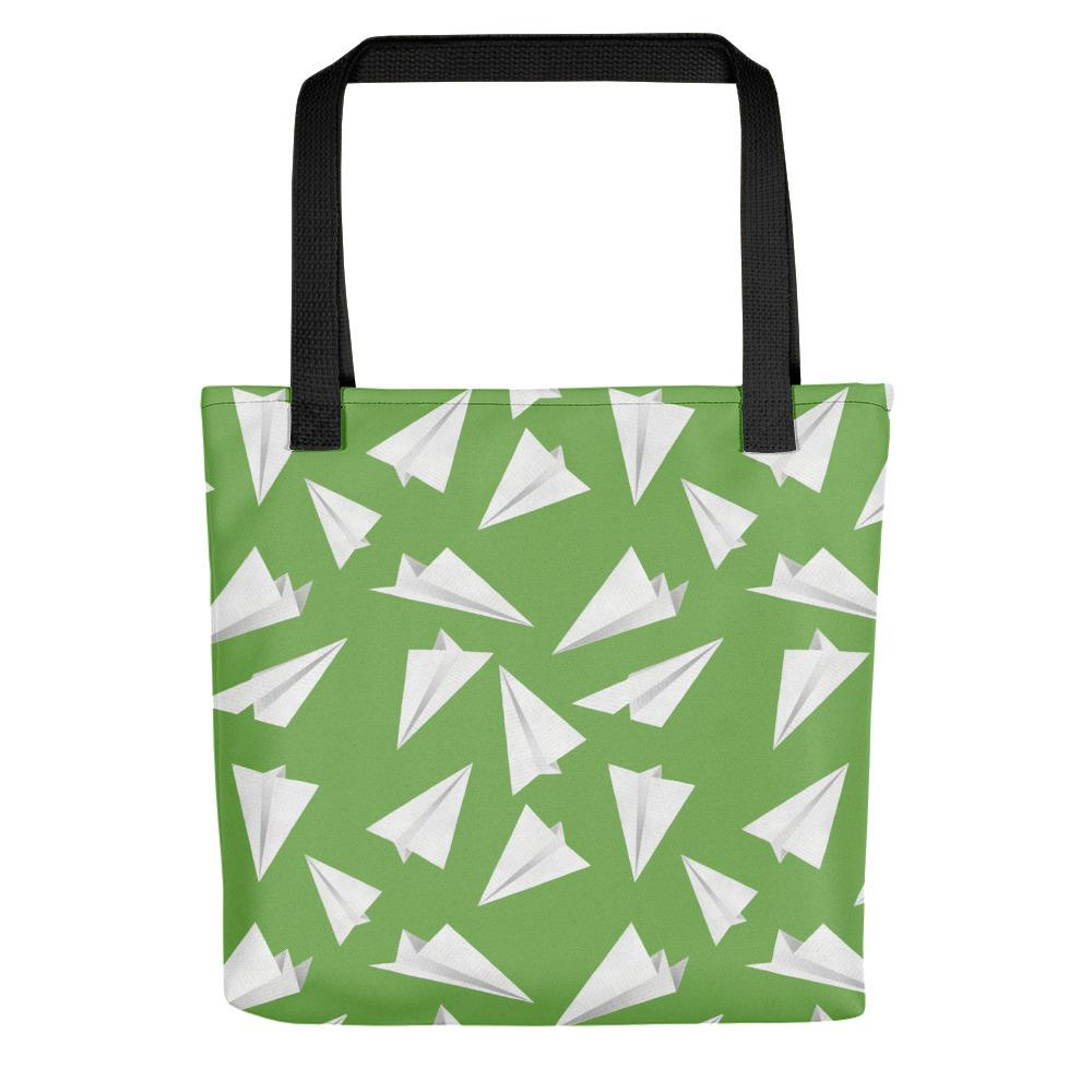 Paper Planes Pattern | Green and White | Tote Bag-tote bags-Black-Eggenland