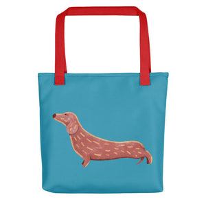 Cute Dachshund Dog | Blue | Tote Bag-tote bags-Red-Eggenland