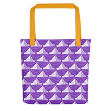 Load image into Gallery viewer, Newspaper Hats Pattern | Violet | Tote Bag-tote bags-Yellow-Eggenland
