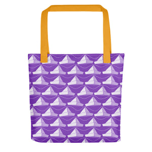 Newspaper Hats Pattern | Violet | Tote Bag-tote bags-Yellow-Eggenland