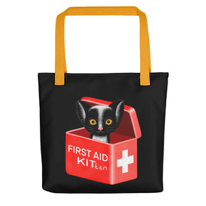 First Aid Kitten | Black | Tote Bag-tote bags-Yellow-Eggenland